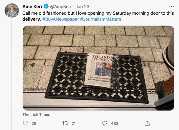 A tweet from Aine Kerr highlighting her delivery from Irish Times