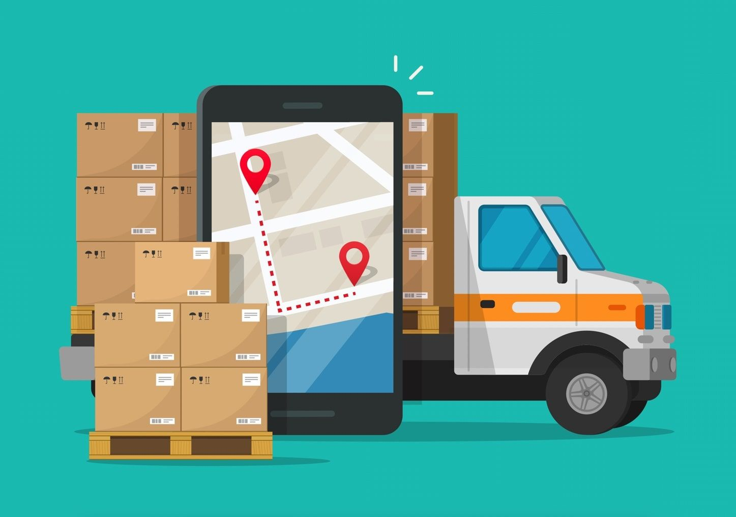 An illustration of a delivery truck, routing app and packages