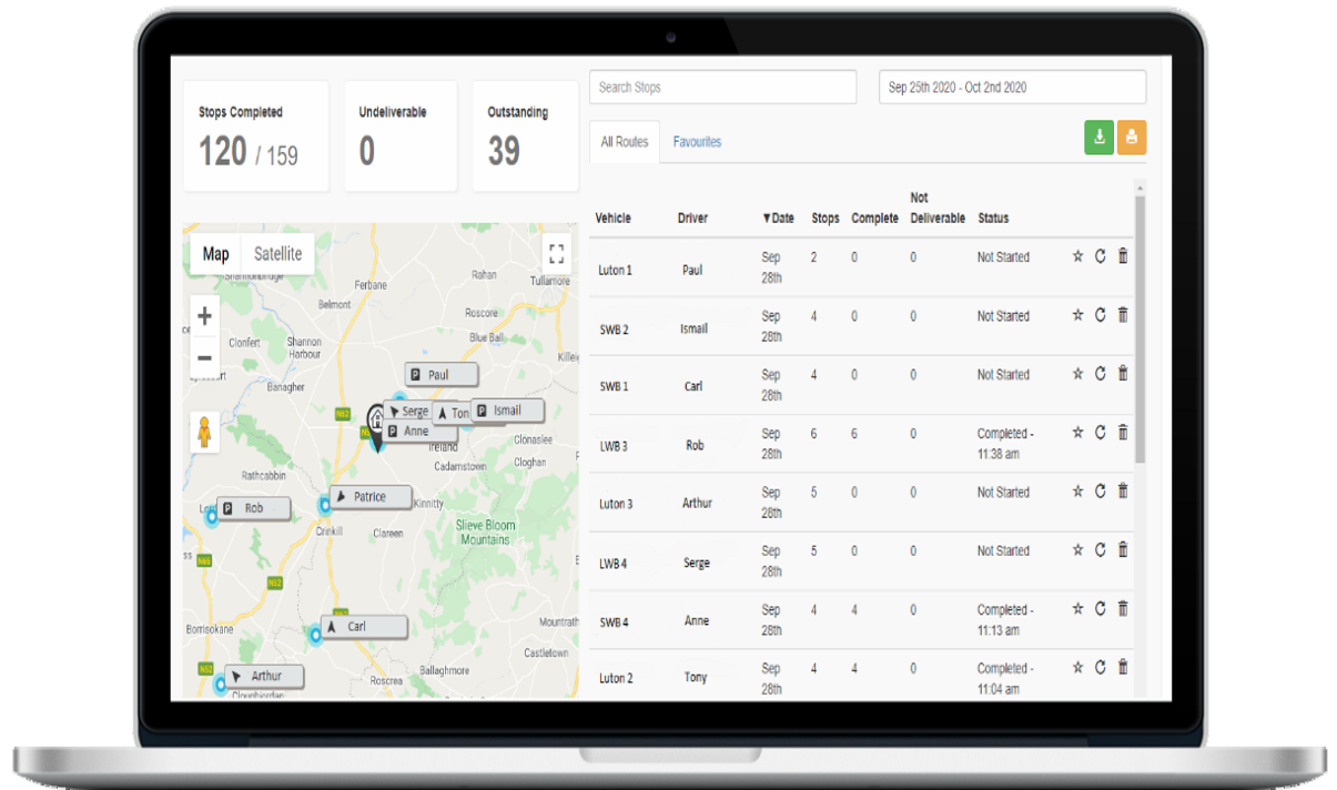 Live tracking of drivers and vehicles on their routes on the SmartRoutes Desktop App
