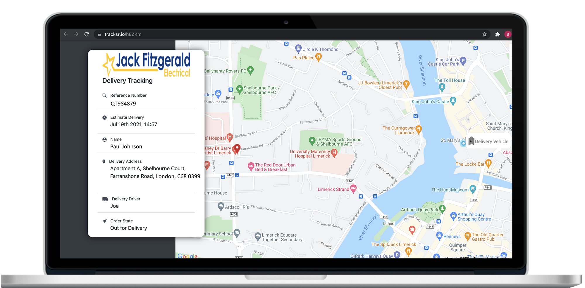 SmartRoutes Customer Live Tracking Portal