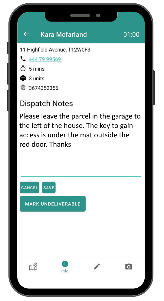 SmartRoutes Driver App with dispatch notes for contactless delivery