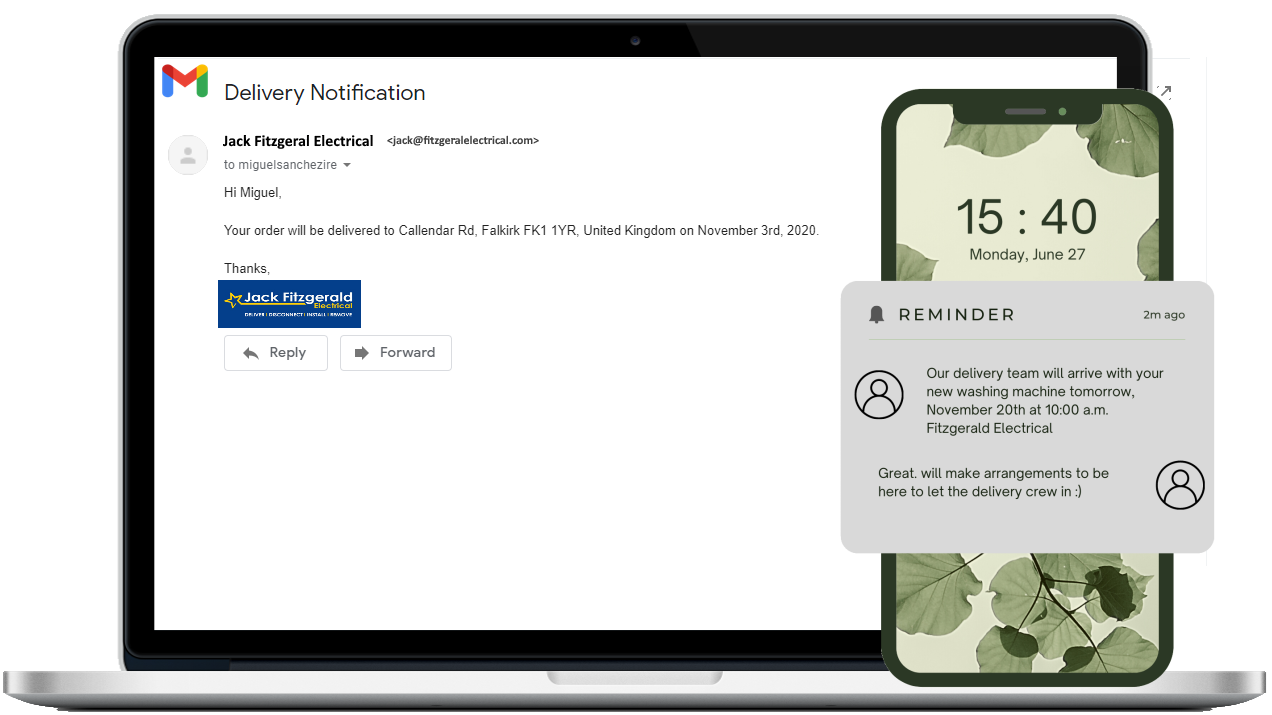 Email and text delivery notifications