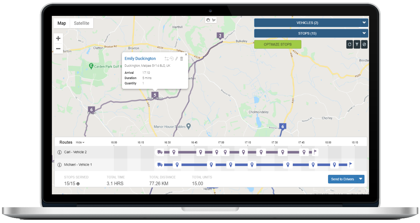 A stop with all info on the SmartRoutes Route Planning Dashboard