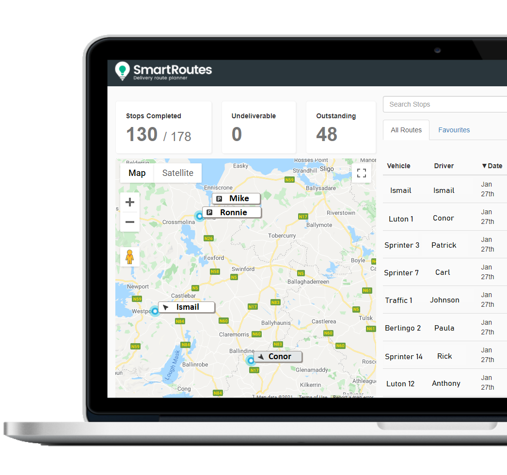Half screen shot of SmartRoutes Live Routes Dashboard