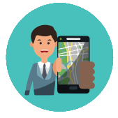 animation of a happy driver wshowing a map on a smartphone