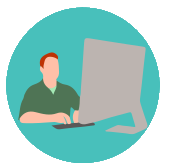 Green Icon of a man working on a desktop computer